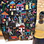 South Africa: Meriam Baloyi with her Crime embroidery, inspired by the burglary of the artist's home, 2010. Photograph by Freedom Dube.